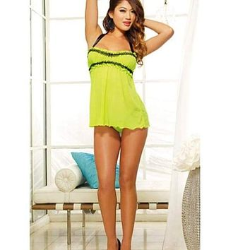 Women's Neon Babydoll lingerie and Thong Set