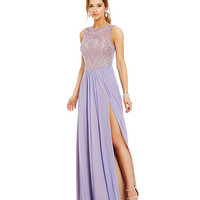 Glamour by Terani Couture Beaded Illusion Bodice High Slit Gown | Dillards