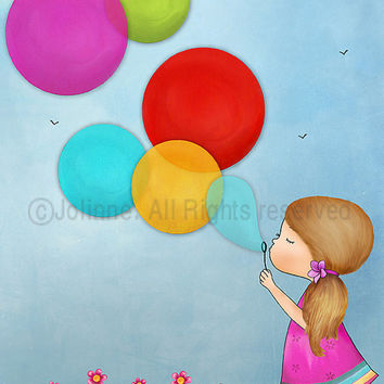 Girls room wall art, girl blowing bubbles, from 7x9 up to 12x15 inch