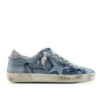 ONETOW GOLDEN GOOSE SUPER STAR DISTRESSED DENIM SNEAKERS