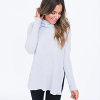 Light Grey Waffle Knit Cowl Tunic