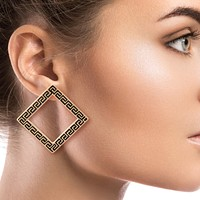 Versace Style Square Earrings