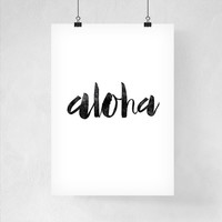 Typography Art Print Aloha Poster Home Decor Typographic Poster Art Print