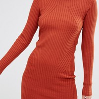 New Look Ribbed Mini Body-Conscious Dress