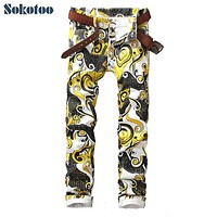 Sokotoo Men's slim pattern print jeans Male fashion casual pants Long trousers