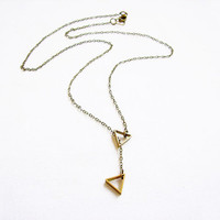 Minimalist Triangle Necklace, Simple Lariat Necklace, Minimalist Jewelry- Tiny Treasures Collection