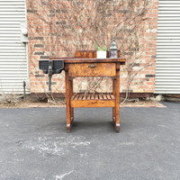 Vintage Wood Working Bench, Industrial Wood Table, Antique Work Bench Table, Wood Workbench