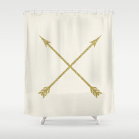 Shower Curtain - Gold Arrows - Gold Shower Curtain - Modern Shower Curtain - Boho Shower Curtain - Gift Ideas - Ivory Shower Curtain