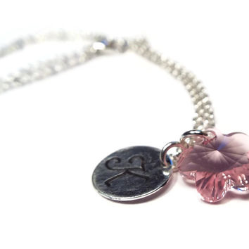 Hand Stamped Monogram Flower Girl or Bridesmaid Necklace