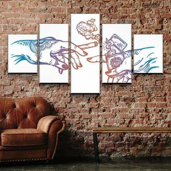 The Creation of Abstract Cannabis Canvas Set