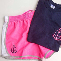 Monogrammed Anchor Tee and Running Shorts- Active Wear- Gift