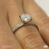 18k Yellow Gold Tacori Sculpted Crescent Round Channel Diamond Engagement Ring