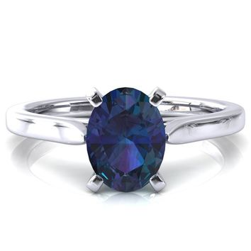 Darci Oval Alexandrite 4 Prong Cathedral Solitaire Engagement Ring