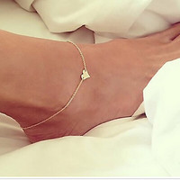 2016 new fashion Silver Gold Plated anklet / Bracelet On The Leg Heart Ankle / Beach chain Barefoot Jewelry + Chain on leg