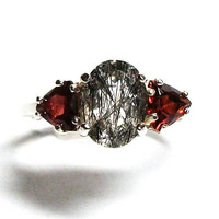 "Rutilated quartz, rutile quartz ring, rutile  ring, multistone ring, anniversary ring, black white red,  red,  s 6 3/4   ""New Year 2018"""