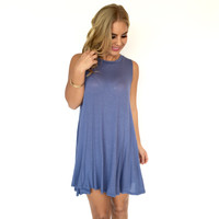 Palm Beach Jersey Shift Dress In Slate Blue