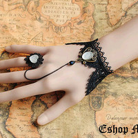 Gothic Victorian Lolita BLACK lace bracelet WHITE mirror w chain n heart shape ring Vampire style Costume Party Goth crispy