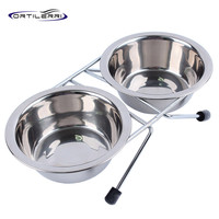 Ortilerri Stainless Steel Double Pet Bowl Pet Daily Necessities Anti-skid Iron Stent 4 Sizes Food Container Dog Edible Bowls