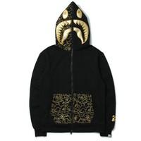 BAPE SHARK Autumn and winter tide brand camouflage Star Shark couple sweater men and women zipper hooded coat