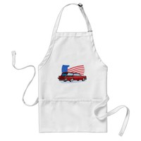 1950's styled station wagon with American flag Adult Apron