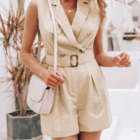 New fashion one-piece shorts suit collar cotton women's tooling shorts without bullets