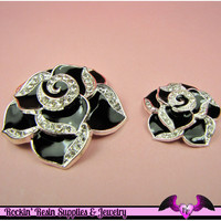 2 pc Black Enamel and Crystals Roses Decoden Cellphone Cabochon Decoration