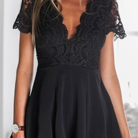Lace Spliced Plunging Neck Open Back Playsuit