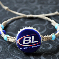 Bud Light Recycled Beer Cap Hemp Bracelet,  blue beer bottle cap unique jewelry, upcycled jewelry