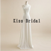 A-line Irregular collar Sleeveless Floor-length Chiffon Bridesmaid Dress With Free Shipping