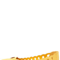 Mia Nomad Yellow Snake Scalloped and Cutout Pointed Flats