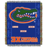 Florida Gators NCAA National Championship Commemorative Woven Tapestry Throw (48in x 60in)