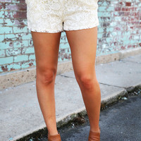 Lace Over Nude Crochet Shorts