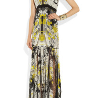 Roberto Cavalli|Printed silk-chiffon and lace gown|NET-A-PORTER.COM
