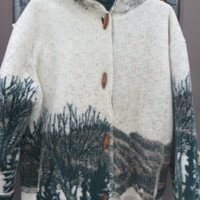 vintage woodand  COUNTRY SIDE horses print  heavy fleece fuzzy toggle reversible coat  with hood sz  small by Denali