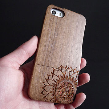 Wood iPhone 5 case - Sunflower iPhone 5S case - Wooden iPhone 5C case - Wood iPhone 4S case -  Wood iPhone 4 case - Sunflower - 11