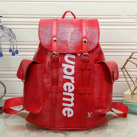 LV SUPREME Women Shopping Leather Metal old plaid Backpack red Khaki