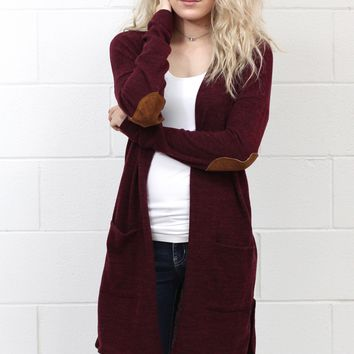 Blogger Style Hacci + Elbow Patch Long Cardigan {Burgundy}