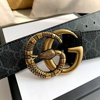 GUCCI Classic Snake Double G Buckle Belt