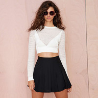 White Mesh Cutout Detail Long Sleeves Knitted Cropped Top