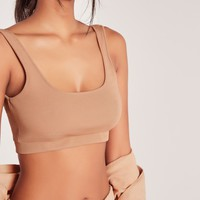 Missguided - Scoop Neck Ribbed Crop Top Nude