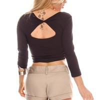 SOLID BLACK TWIST PEEKABOO BACK LONG SLEEVES CASUAL CROP TOP