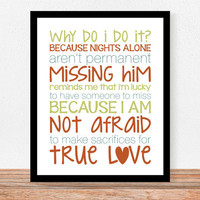 Military Wife or Girlfriend True Love  8 x 10 by QuotableLife