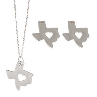 Silver State with Cut Out Heart Pendant and Stud Earrings Set - Texas