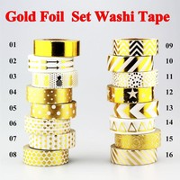 New 10m Gold Foil Washi Tape Adhesive Scrapbooking Tools Christmas Party Kawaii Photo Album MaskingTape decoration Paper Crafts