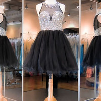 Black Homecoming Dress, Tulle Black Homecoming Dresses