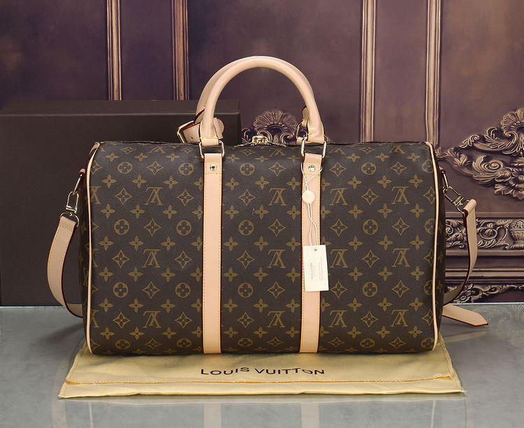 Image of LV Louis Vuitton street fashion men and women models casual casual high quality travel bag shoulder bag Coffee print