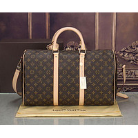 LV street fashion men and women models casual casual high quality travel bag shoulder bag Coffee print