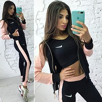"Women Fashion ""NIKE"" Zip-up jacket Vest Pants Sweatpants Three-piece suit Sportswear"