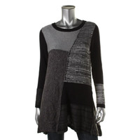 Style & Co. Womens Patchwork Boatneck Tunic Sweater