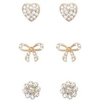 Gold Bow & Heart Rhinestone Stud Earrings - 3 Pack by Charlotte Russe